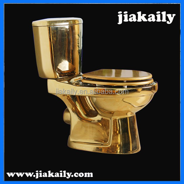 JKL-7137chaozhou manufacturer Ceramic two piece gold color toilet