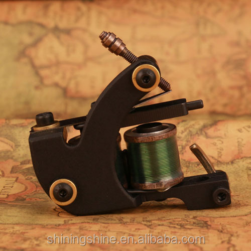 2018 high quality 12 wraps green coils tattoo machine