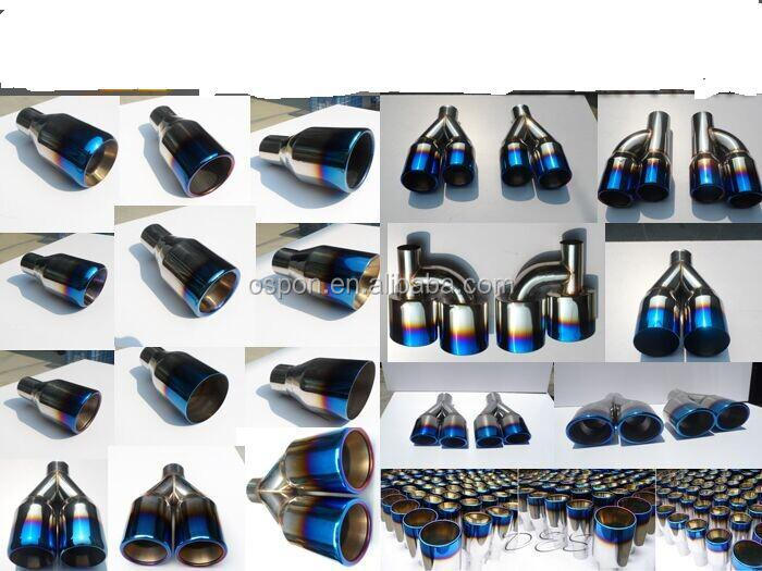 Blue Burnt Exhaust Dual Straight Tip Polished Stainless Steel 2.5