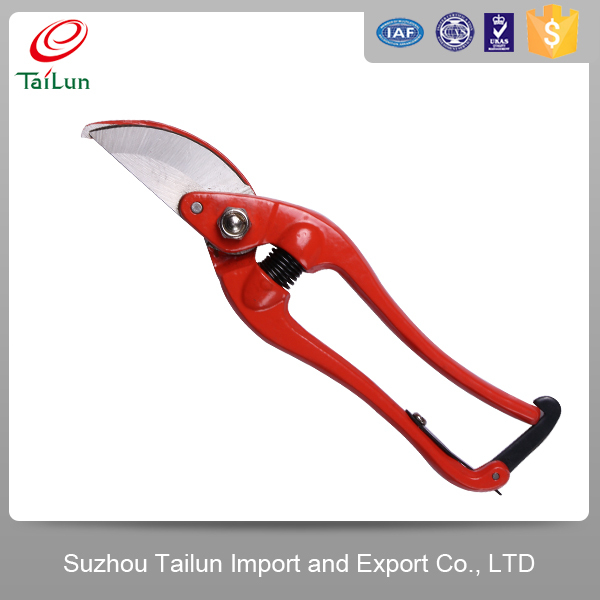 65Mn Red Garden Hand Pruner With 55# Carbon Steel Handle