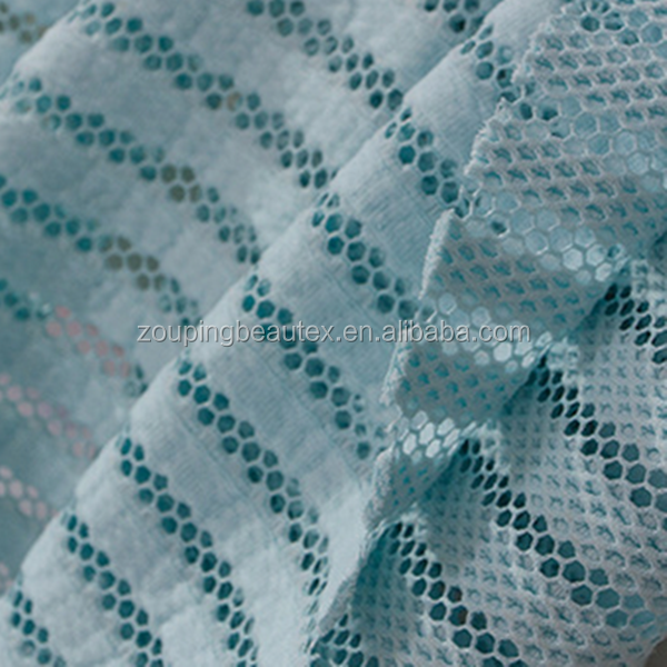 Hot sale 100%polyester 3d spacer types of cheap strip mesh fabric for garments