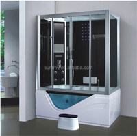 wood steam sauna room with waterproof lcd tv glass shower enclosures