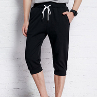 Cheap bulk customzied stylish black plain half pants for men