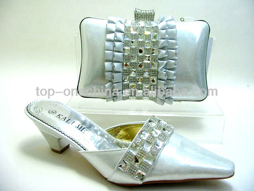 2014 italian shoes and bag set/matching shoes and bags for party use(TSH-133 silver)