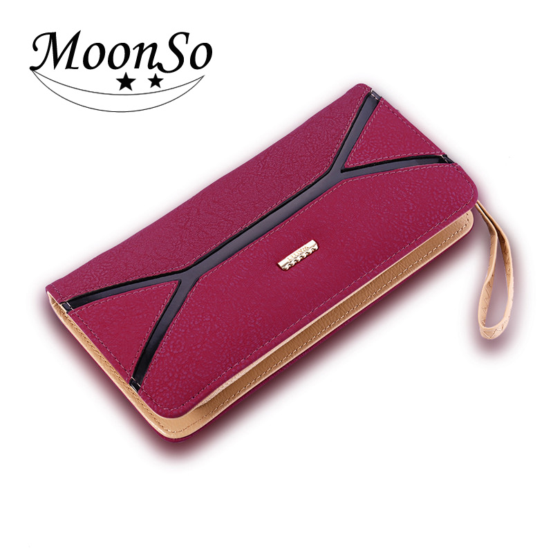 High Capacity Fashion Women Wallets Long Dull Polish PU Leather Wallet Female Zipper Clutch Coin Purse Moonso KP-004