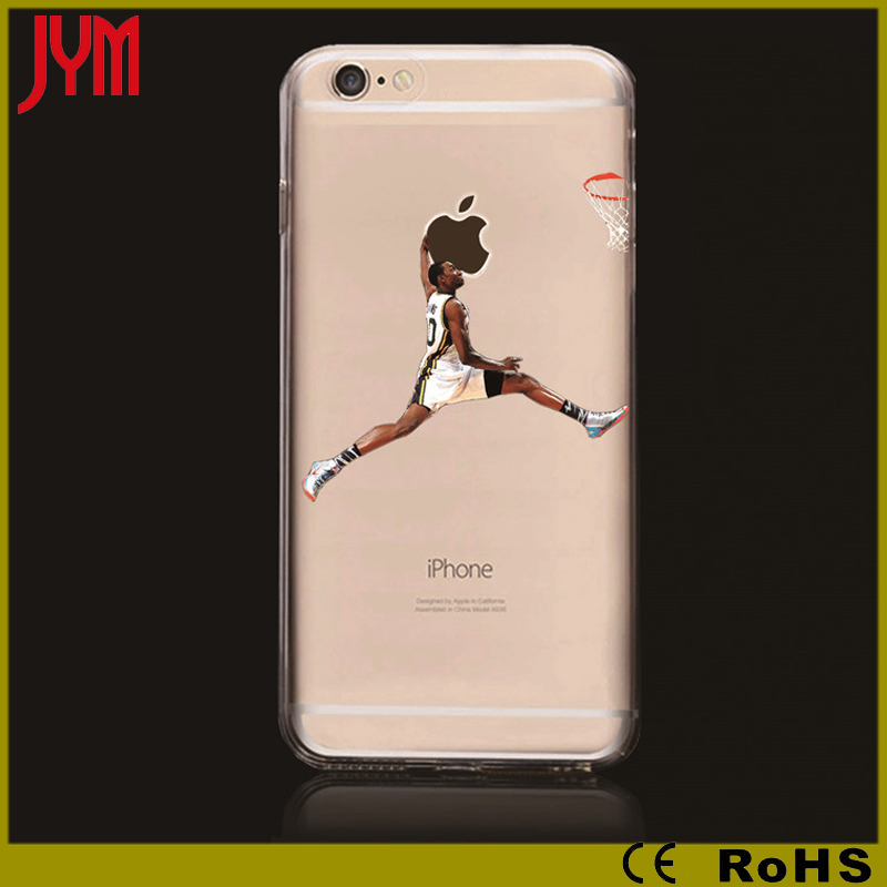 nba basketball star personalized printing clear tpu cell phone case for iphone 6 / 7