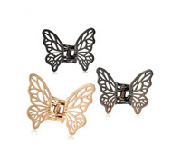 Mini cute butterfly shaped shiny metal hair claw clips