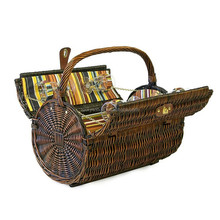 wholesale cheap round wicker picnic basket with handle
