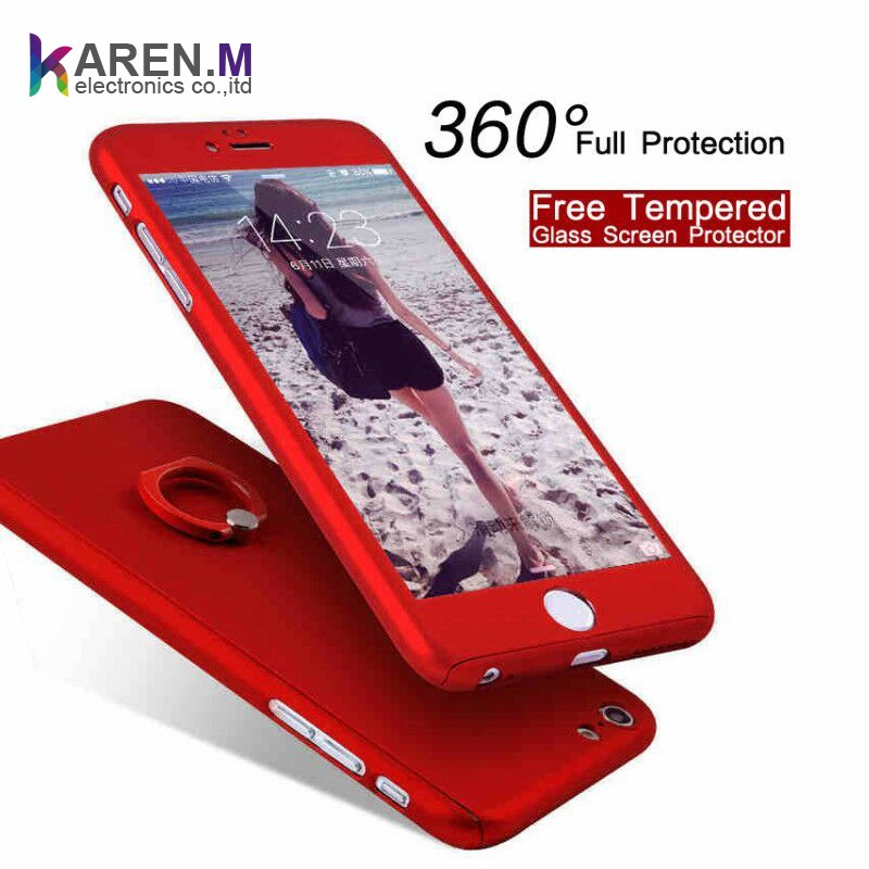 New Design 360 Hard Thin Case + Free Tempered Glass Screen Protector Cover For iPhone 6 6s 7 Plus