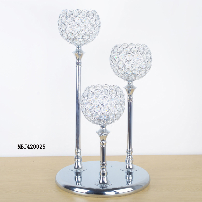 3 heads silver metal table stand candle holders