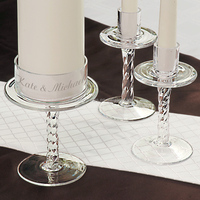 Personalized Glass Pedestal Unity Candle Stands
