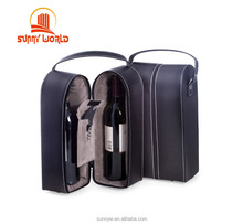 Travel Tote Bag Leather Wine Case Wine Caddy Carrier for Two Bottles