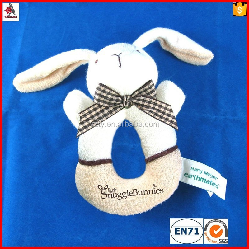 Lovely rabbit plush baby puppet doll with bell