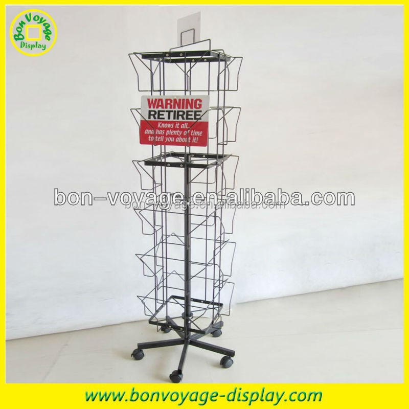 rotating metal floor spinner magazine card display rack