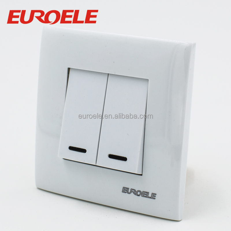 PC panel European standard 86*86 2 Gang 1Way 2 gang 2 way wall <strong>switch</strong> with led indicator light neon