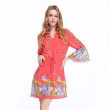 2018 New Spring Women Floral Flute Sleeve Wrap Front Maxi Dress