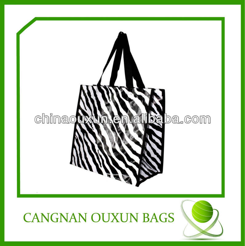 new arrival laminated pp woven wholesale zebra print shopping bags