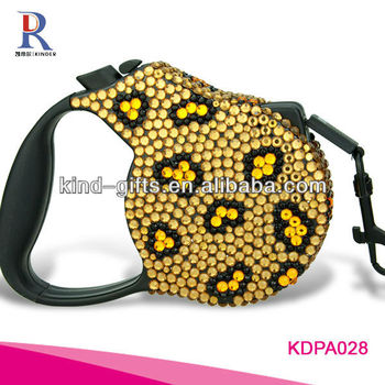 New Bling Rhinestone Retractable Dual Dog Leash Pet Leash With Crystal