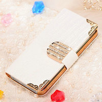 Top quality low price sex girl rhinestone cute mobile phone wallet for iphones 5/5S
