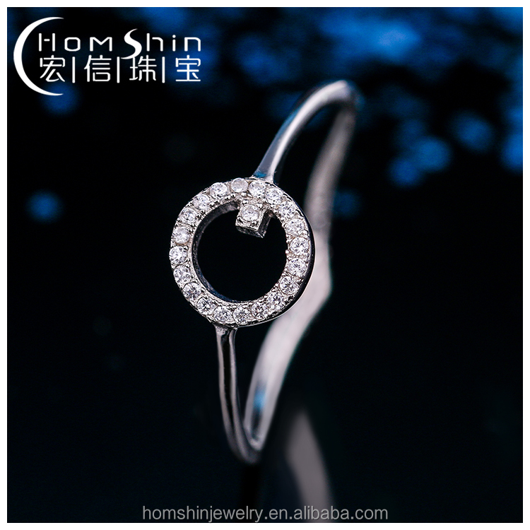 O shape simple silver cz ring jewelry