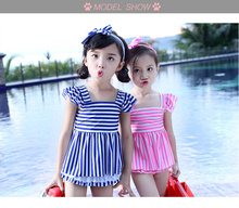 2017 New Cute Swimwear Babies Swimsuit 3 Pieces Backless Bikini For Kids Pink Blue Swimwear Children Tankini Set