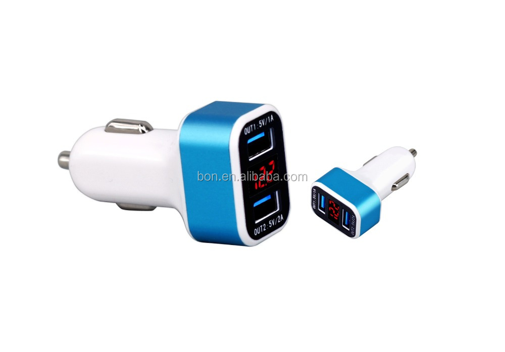 High quality LCD car charger dual 2 usb port 3.1A car battery charger withe voltage/ current display