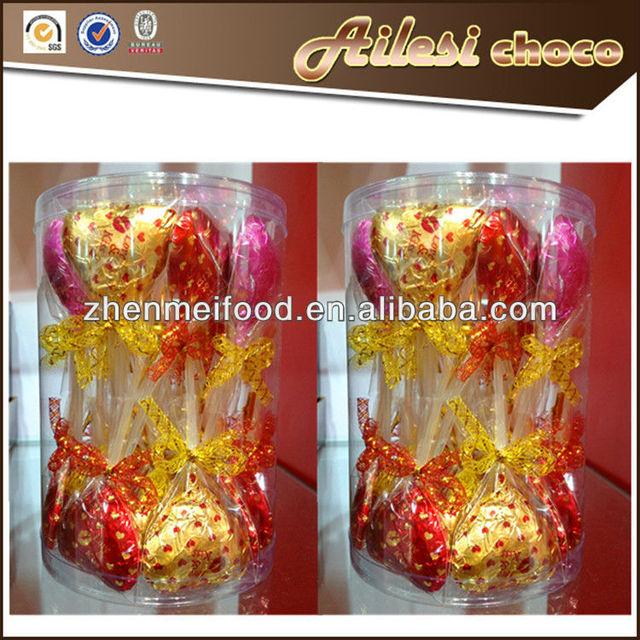 heart shaped chocolate lollipops