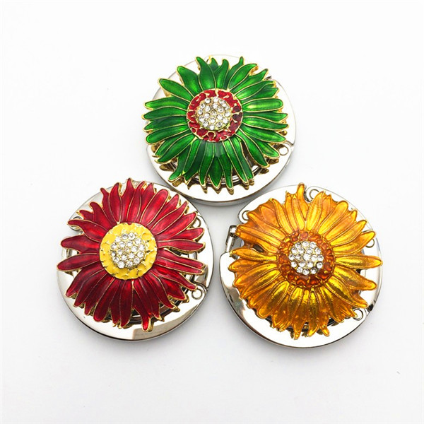 sunflower shape women bag holders Epoxy stainless steel Folding Bag diy Purse Hook