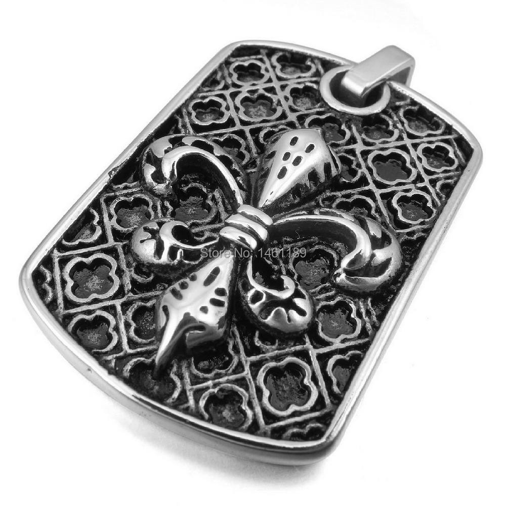 Men's Stainless Steel Pendant Necklace Silver Knight Fleur De Lis Cross Vintage -with 23 inch Chain