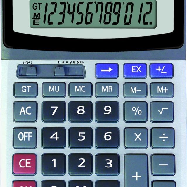 dual power desktop office calculator 12 digits white
