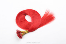 Top Quality Nail Hair, Nail U-tip Hair Extension red,girl's red pre-bonded u-tip Extension