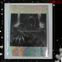 Custom Hologram 3D Room Decor Skeleton With Purple Eyes Holiday Wall Sticker, Shiny Halloween Laser Sticker