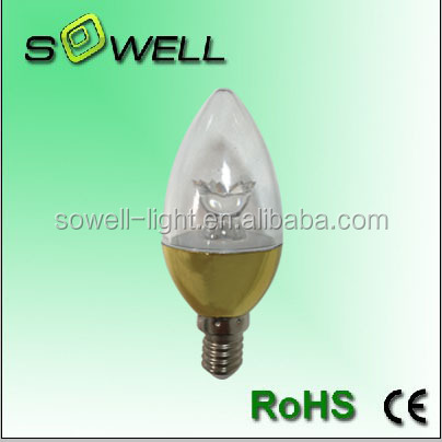 220-240V 3.5W E14 Gold/Silver body Crystal C37 LED candle light