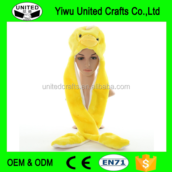 New Fashion Cute Plush Yellow Duck Animal Hat with Paws for Teenagers Winter Hats Children Gift