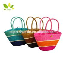 Bulk recycled foldable straw bags beach natural