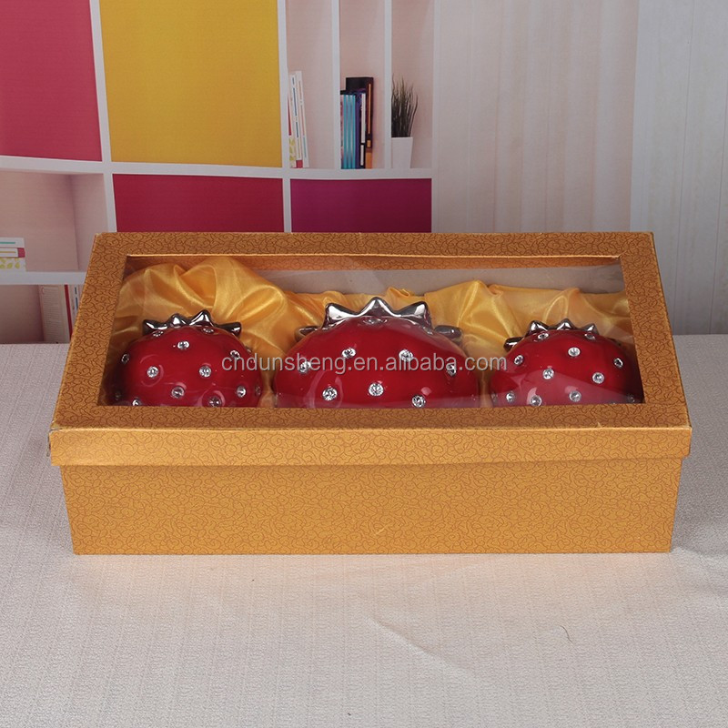 wholesale ceramic decorative canister, red ceramic Jewelry box, wedding gift strawberry jar