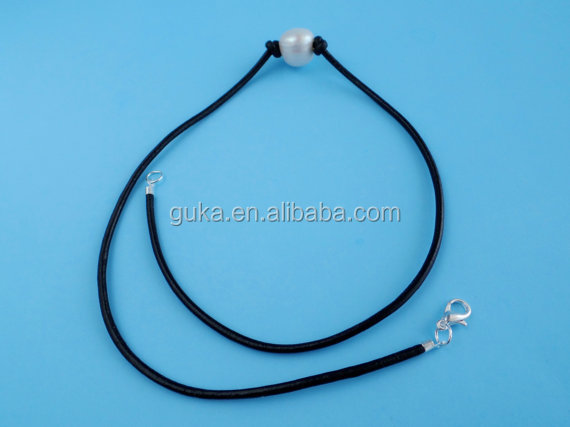 2016 Hot Sale Fashion jewelry black string 11mm-12mm leather pearl necklace