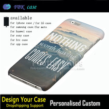Custom Printed Case Cover For iPhone 6s/6splus/7/7Plus,Custom Personalized Nothing Worth Having Comes Easy Plastic Outer Case