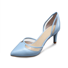 Lovely Lady Cowhide Stiletto Shoes Fashion Blue Dress Pumps Made In China