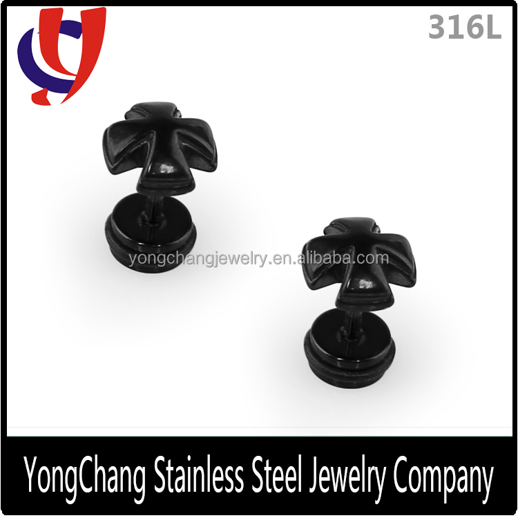 Special cross shape casting 316L stainless steel stud earrings with different color selection