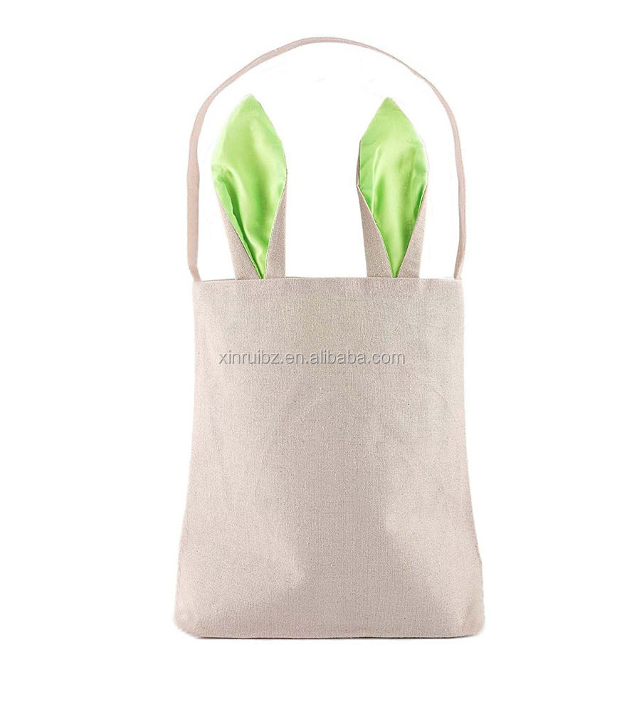Dual layer bunny ears design cotton cloth material candy bag