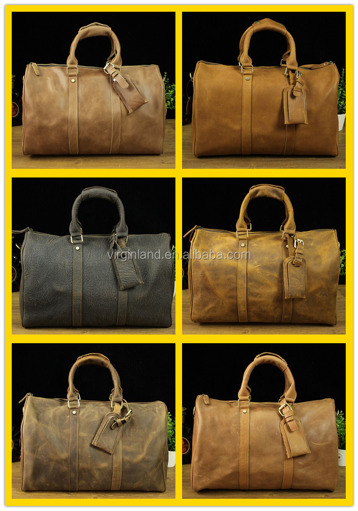 L3263 Best Selling Vintage Design Custom Mens Leather Duffle Bag Gym Bag for Travelling