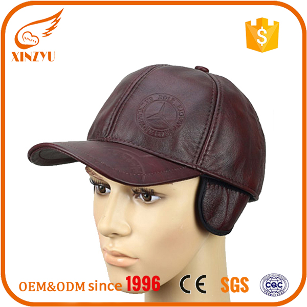 Embossed fitted brown leather baseball caps real leather rasta hats with earflap