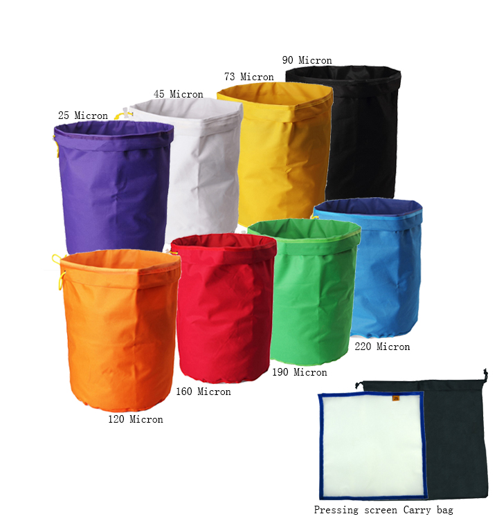 Orientrise 20 Gallon 8 bag Herbal Ice Bubble hash Bag Kit with free pressing screen and carry bag include
