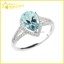 14K rose white yellow gold pave diamond aquamarine pear cocktail engagement ring