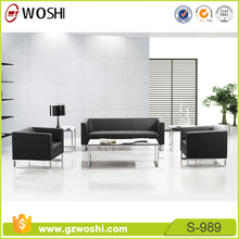 Hot sale comfortable upholstery black leather & fabric office sofa set designs S989