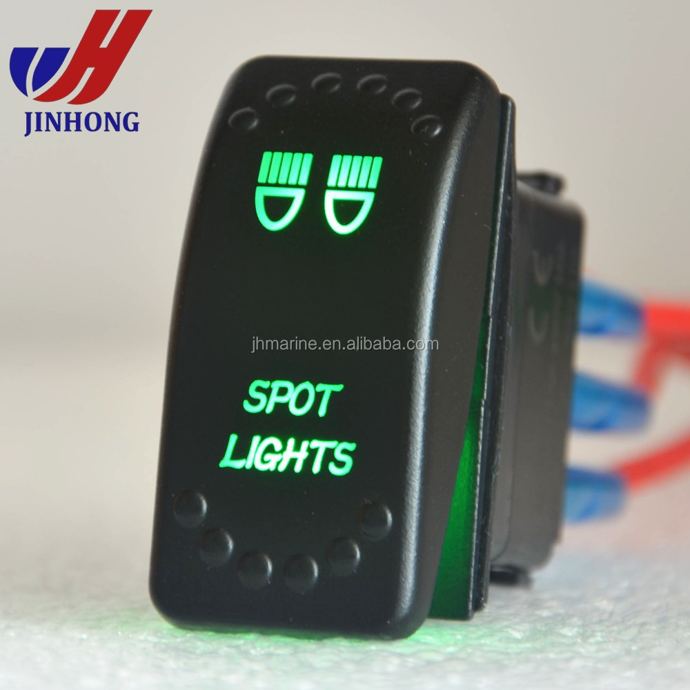 ON-ON/SPDT/4P/2 LEDS CUSTOM LASER ROCKER SWITCH WITH SPORT LIGHTS LOGO