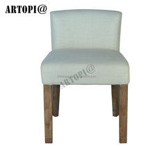 High quality simple white fabric home wooden dining room chair / solid restaurant furniture low back dining chair