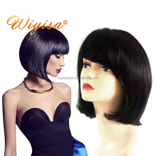 Cheap price 8 inch short bob lace wigs for black women,natural indian girls remy virgin short full lace wig