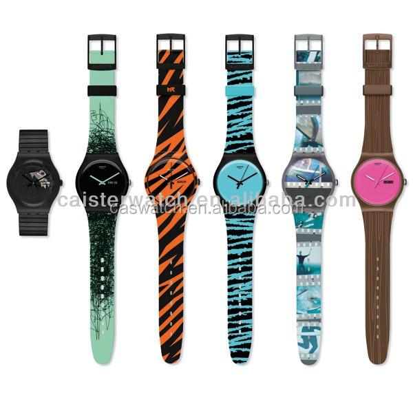Most fashion PVC band plastic watch for promotion plastic unisex watch custom printed strap womens full printed plastic relojes